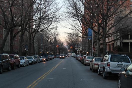 Dusk in winter, NYC street