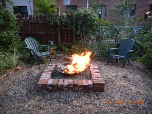 firepit at full blaze at dusk 2